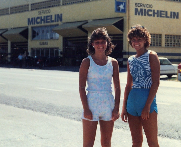 Colleen at 18 and Debby at 16 in Spain, June 1986