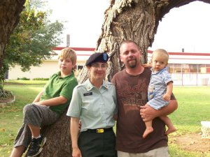 Basic Combat Training graduation. With Andrea and Wayne Perry are their sons, Quinn, 11 months, and Kyle, 9 at the time.